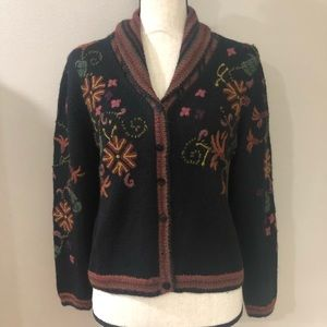 Peruvian Connection Embroidered Cardigan 100%alpac